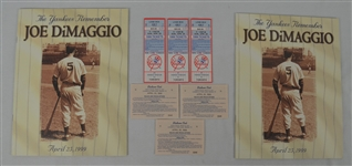 Lot of 2 Magazines & Tickets From 1999 Joe DiMaggio Day