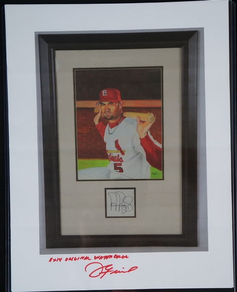 Albert Pujols Original James Fiorentino Oil Painting Signed by Both w/LOA From Artist