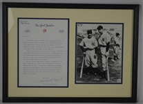 Phil Rizzuto Dual Signed Letter & Photo Display