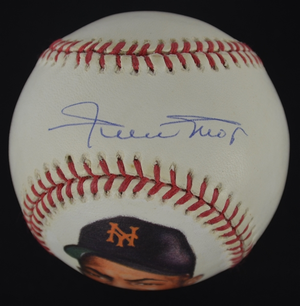 Willie Mays Vintage Autographed Hand Painted Baseball