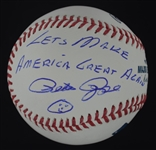 Pete Rose Autographed & Inscribed Let's Make America Great Again Baseball