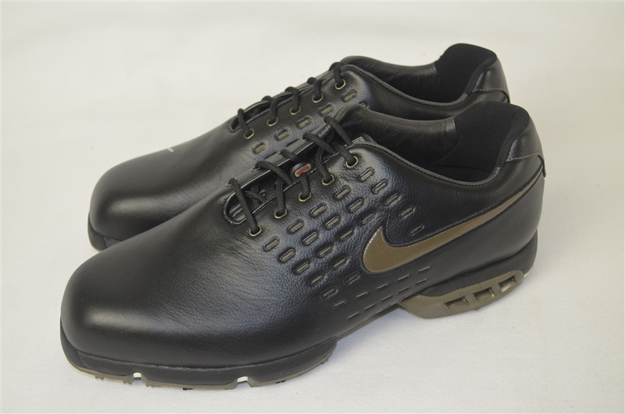 Tiger Woods Autographed Nike Air Tour Black Bronze Shoes UDA