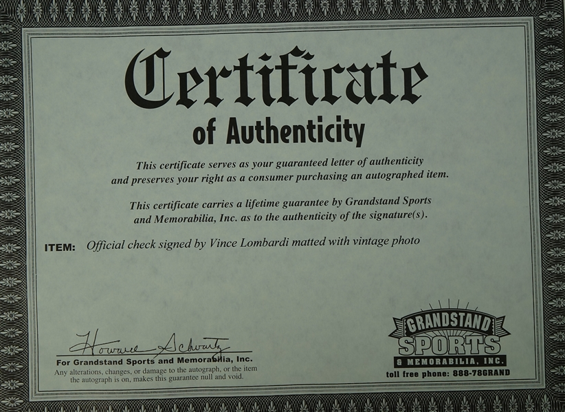 Vince Lombardi Signed Green Bay Packers Check & Famous Speech Display