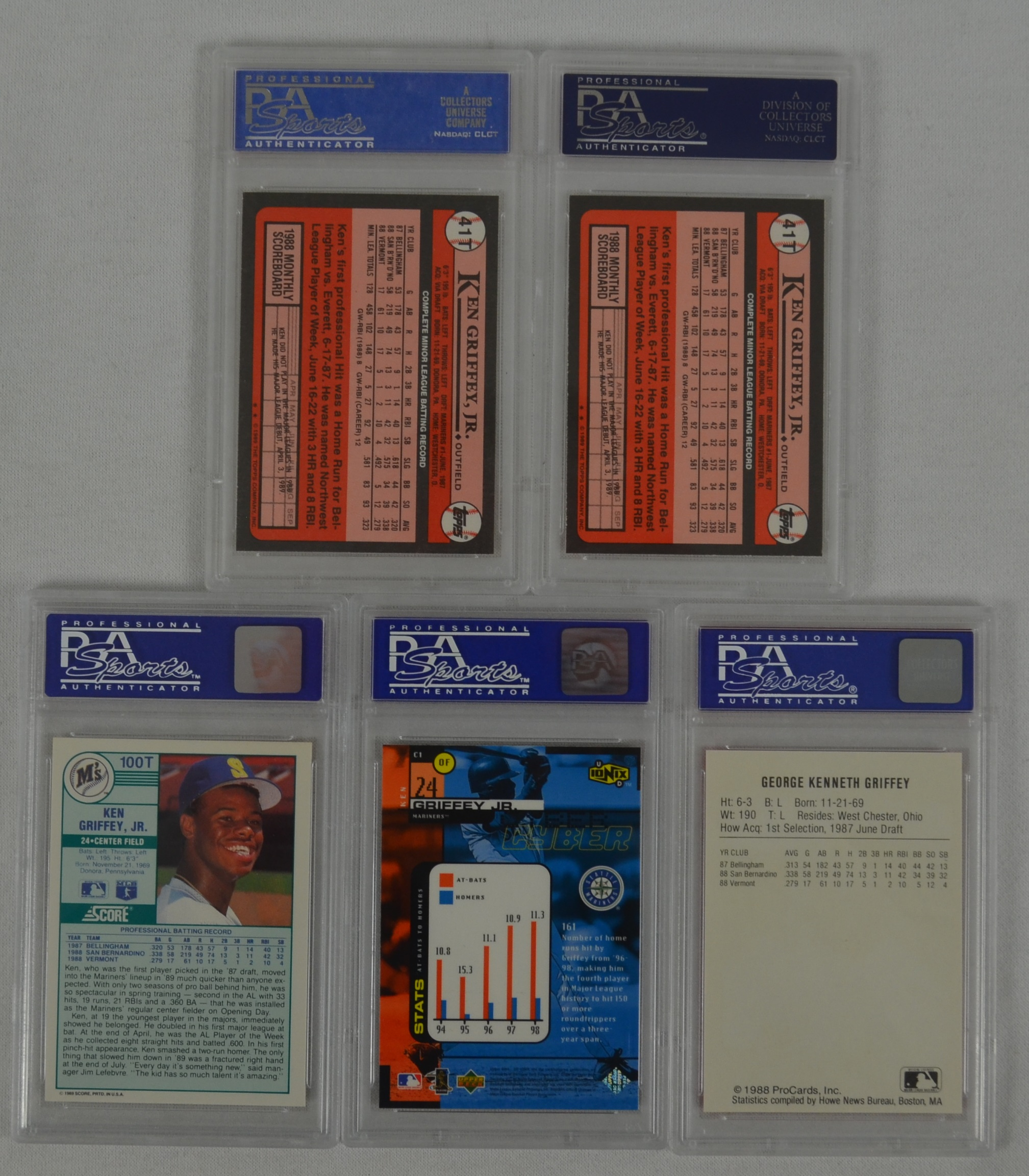 Lot Of 5 Rookie Baseball Cards With Ken Griffey Jr 1989: Ken Griffey Jr. Lot 5 PSA Graded Rookie Cards