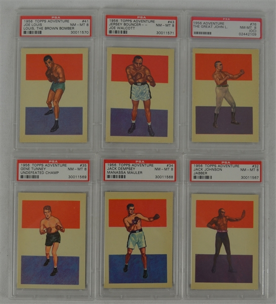 Boxing 1956 Topps Adventure Lot of 6 Cards Graded PSA 8 NM-MT