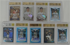 MLB Collection of 9 Autographed BGS Graded Rookie Cards