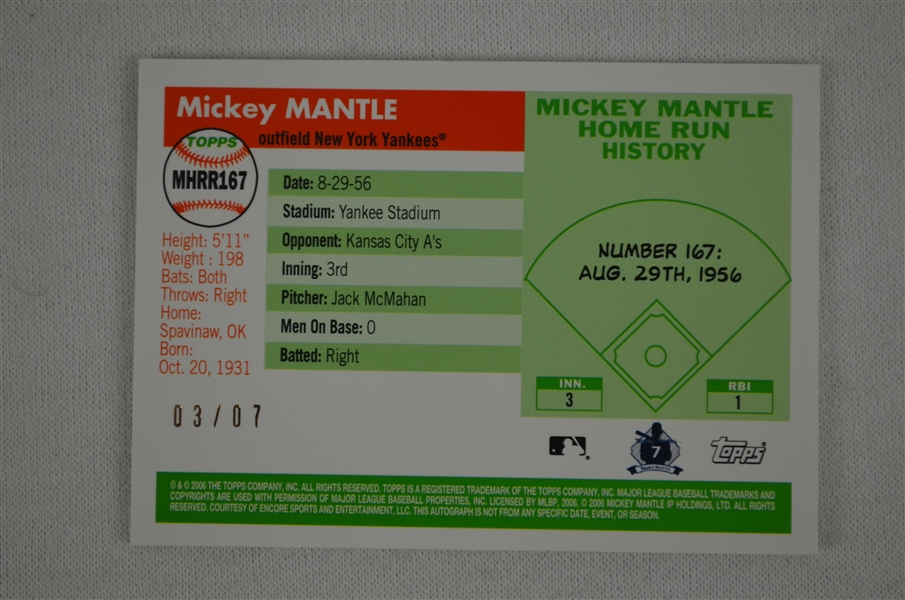 Lot Detail - Mickey Mantle Topps Game Used Bat Card #3/7