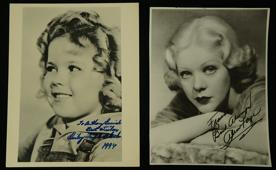 Vintage Collection of 2 Autographed Photos w/Shirley Temple & Alice Faye