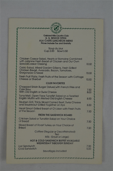 1991 U.S. Open Lunch Menu Signed by Jack Nicklaus Arnold Palmer Lee Trevino & Gary Player