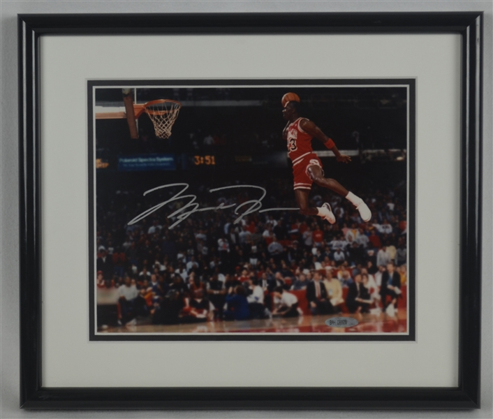 Michael Jordan Autographed & Framed Slam Dunk Photo UDA