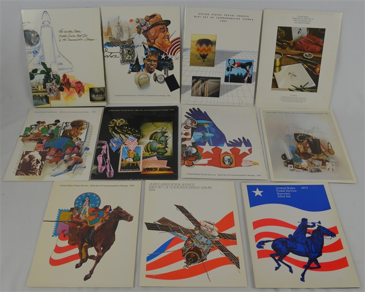 Collection of 1973-1983 USPS Souvenir Stamp Sets