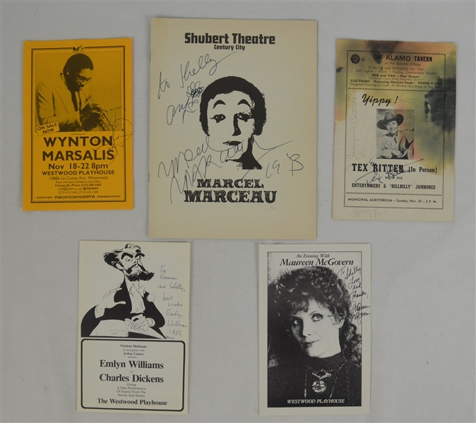 Collection of 5 Signed Programs w/Marcel Marceau