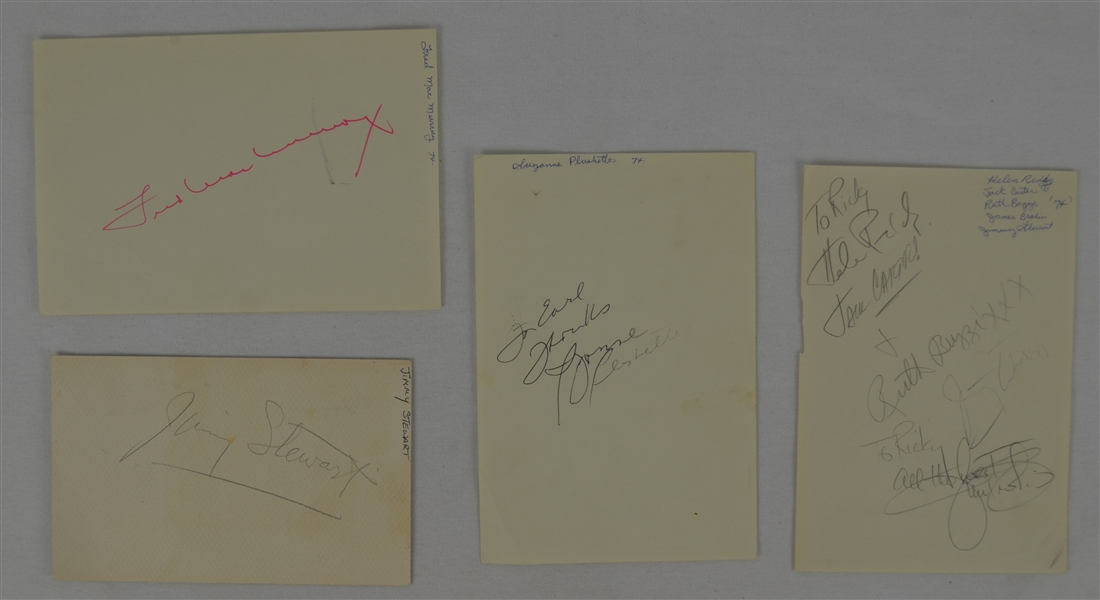 Collection of 4 Autographed Sheets w/Jimmy Stewart