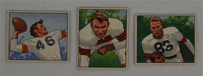 Lot of 3 NFL 1950 Bowman Cards