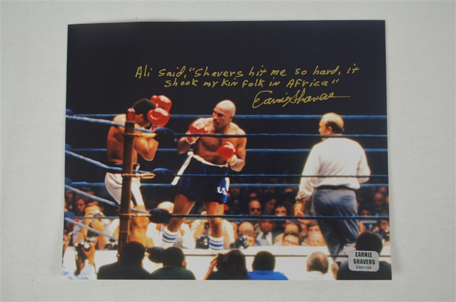 Ernie Shavers Autographed Boxing Glove, Photo & Muhammad Ali Fight Poster