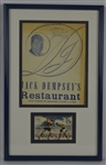 Jack Dempsey Autographed Restaurant Menu & Card Display