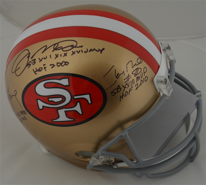 Joe Montana Steve Young & Jerry Rice Autographed & Multi Inscribed SF 49'ers Helmet