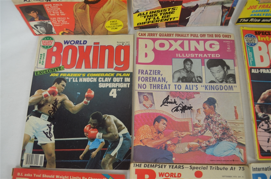 Joe Frazier's Collection of 16 Vintage 1970's Boxing Magazines Signed by Emile Griffith
