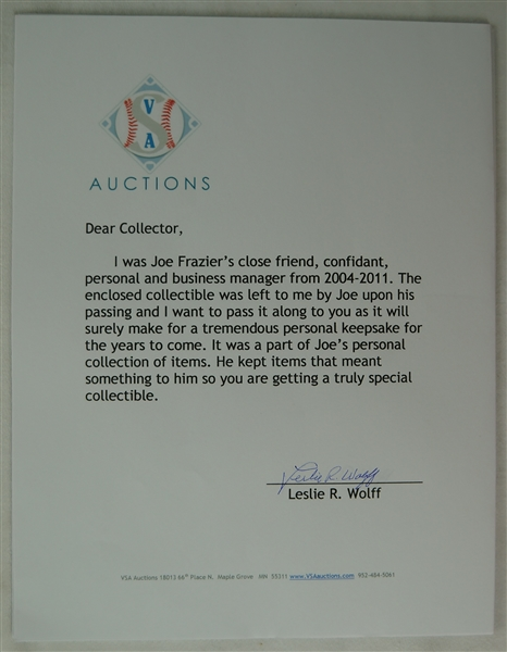 Joe Frazier Personal Letter of Commendation From U.S. Army Commander