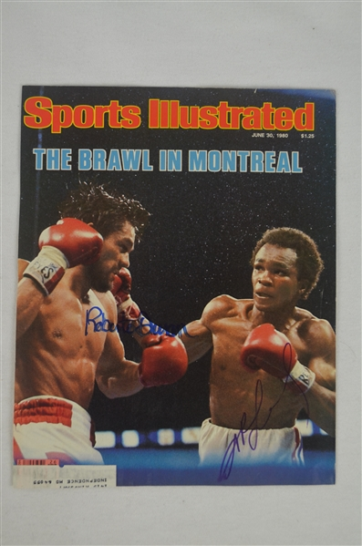 Sugar Ray Leonard & Robert Duran Autographed 1980 Sports Illustrated Cover