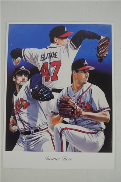 Tom Glavine Lot of 3 Tim Cortes Fine Art Lithographs