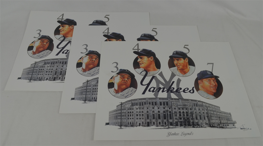 New York Yankee Legends Lot of 3 Tim Cortes Fine Art Lithographs