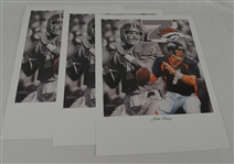 John Elway Lot of 3 Tim Cortes Fine Art Lithographs