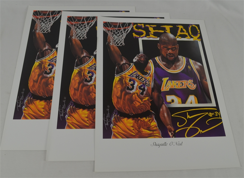 Shaquille O'Neal Lot of 3 Tim Cortes Fine Art Lithographs