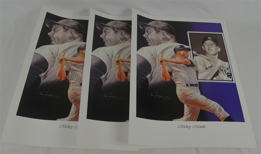 Mickey Mantle Lot of 3 Tim Cortes Fine Art Lithographs