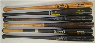 Collection of 6 Professional Model Bats w/Heavy Use