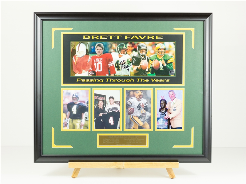 Brett Favre Signed Through the Years Display