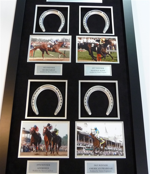 Triple Crown Signed Horse SHoe Display Signed by 4 Jockeys Secretariat, Seattle Slew, American Phroah