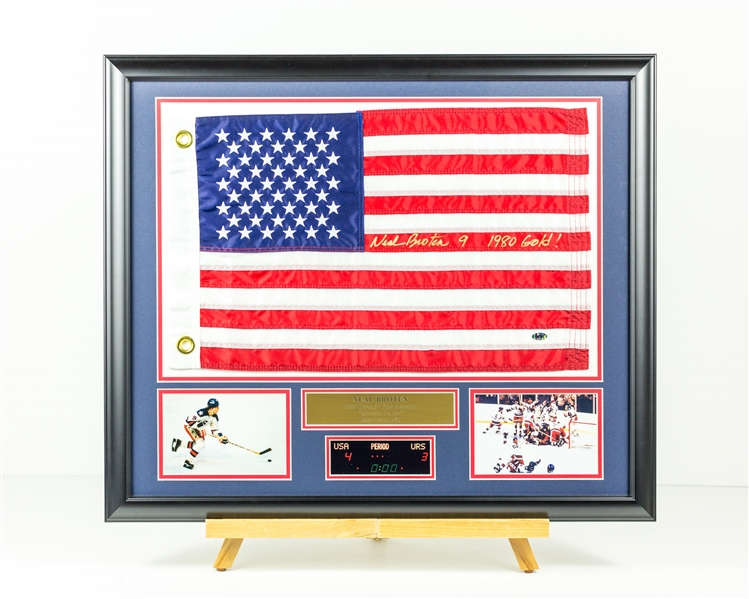 Neal Broten Signed Flag display