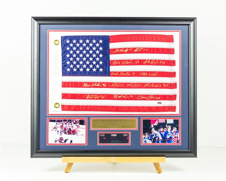 1980 Team USA Hometown Heroes Signed Flag 12 Signatures