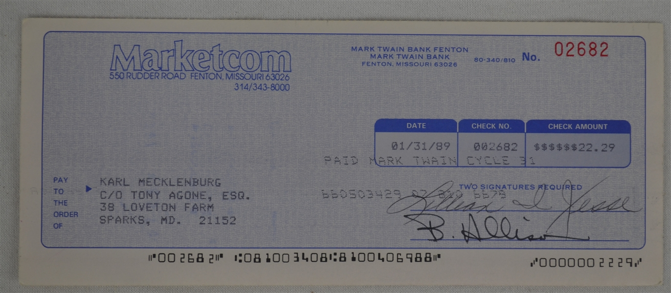 Randy White Dave Krieg & Karl Mecklenburg Signed Royalty Checks