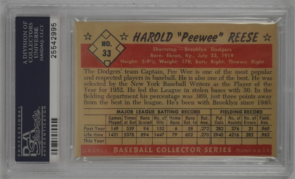 Pee Wee Reese 1953 Bowman Color Brooklyn Dodgers HOF #33 PSA 6.5 EX-MT+