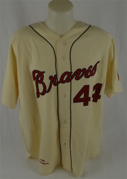 Hank Aaron 1963 Milwaukee Braves Mitchell & Ness Autographed & Inscribed Career Stat Jersey