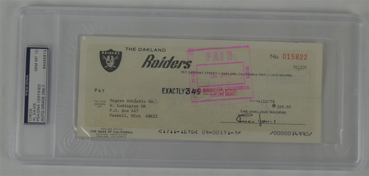 Al Davis Oakland Raiders Signed Check PSA 10 Gem Mint