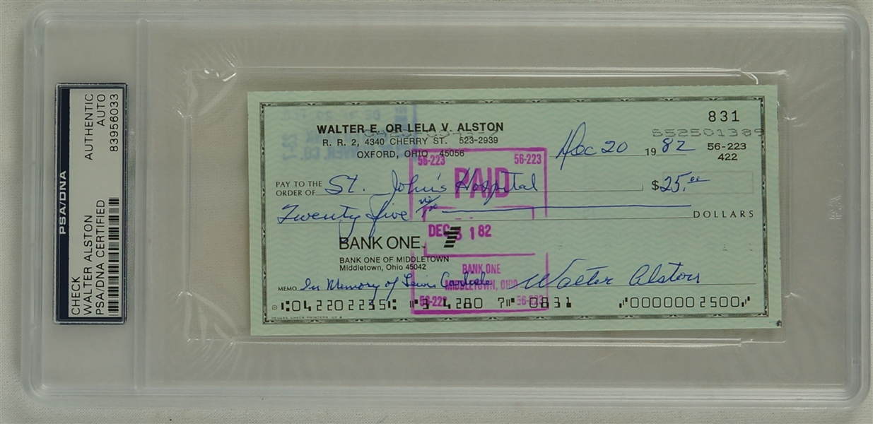 Walt Alston Brooklyn Dodgers Signed Check PSA/DNA