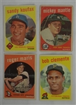 Collection of 4 Vintage 1959 Topps Cards w/Mickey Mantle
