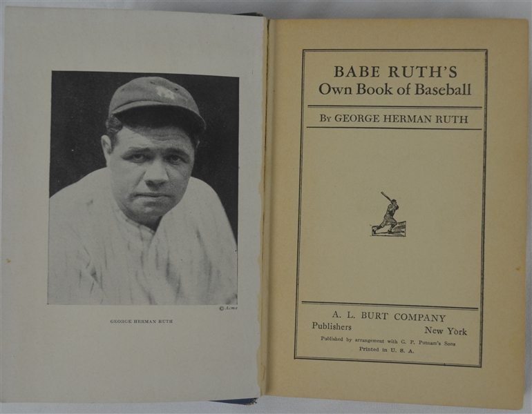 Vintage 1928 First Edition Copy of Babe Ruth's Own Book of Baseball by George Herman Ruth