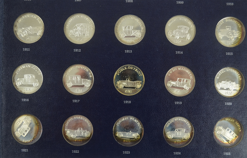 Franklin Mint Collection Collection of 25 Sterling Silver Antique Car Coins