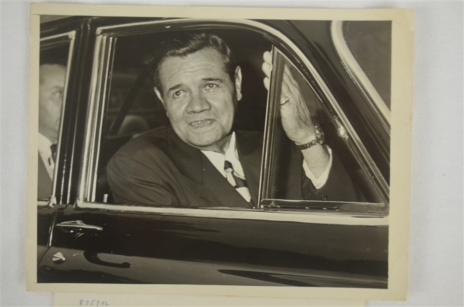 Babe Ruth Original Wire Photo Dated July 13th 1948 One Month Before He Passed