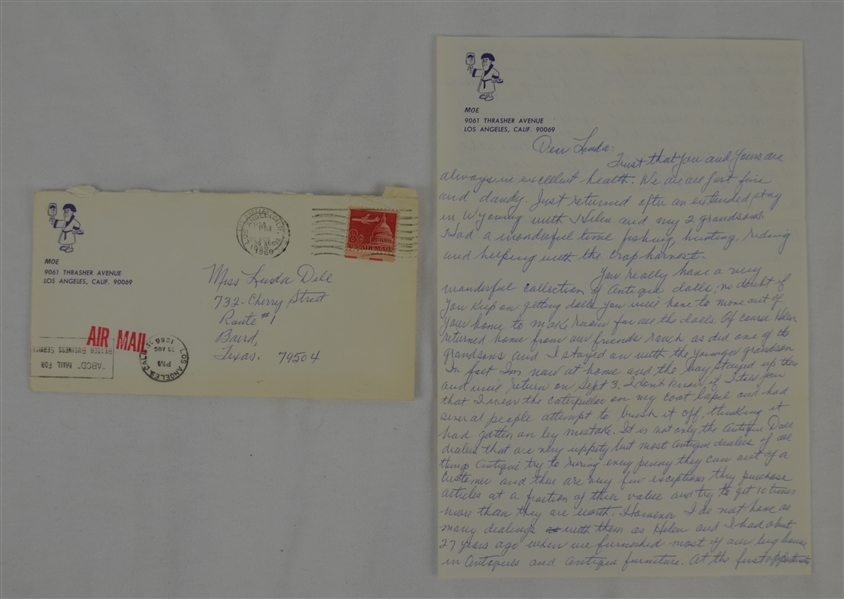 Moe Howard Three Stooges 1966 Two Page Handwritten & Signed Letter w/Envelope