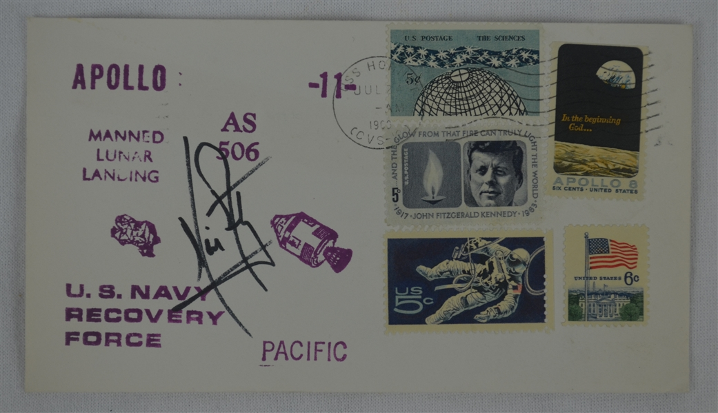 Neil Armstrong Signed 1969 Apollo 11 First Day Cover w/Full JSA LOA