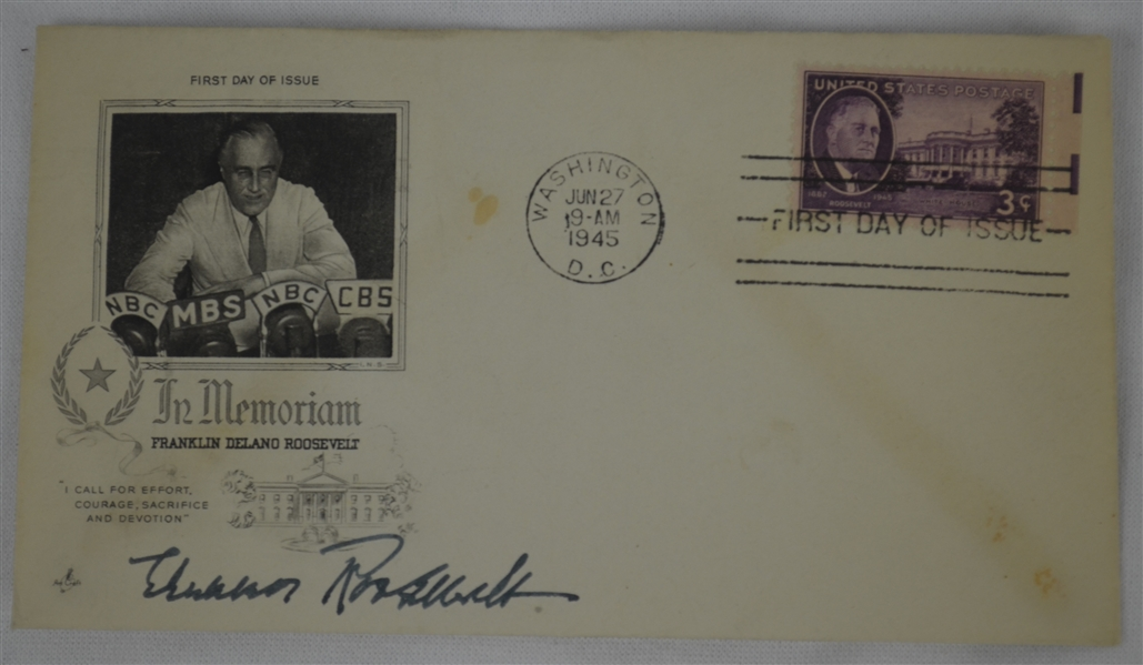 Eleanor Roosevelt Lot of 2 Signed 1945 First Day Covers