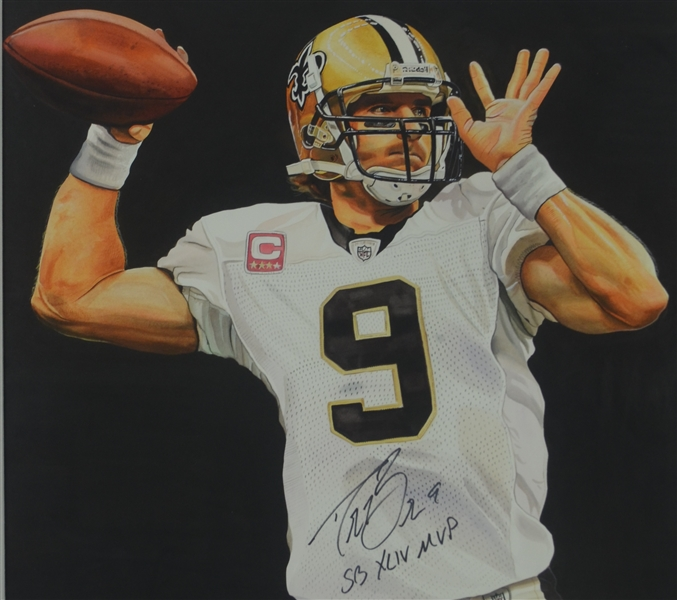 Drew Brees Original James Fiorentino Painting Signed by Both w/LOA From Artist
