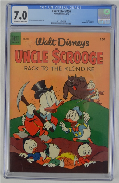 Rare 1953 Walt Disney Uncle Scrooge 2nd Issue Dell Four Color Comic Book #456 CGC Graded 7.0