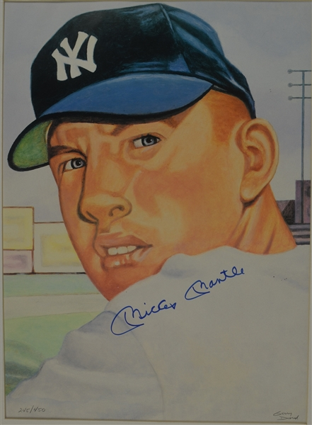 Mickey Mantle Autographed 1953 Topps Card Lithograph