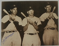 Joe DiMaggio Autographed Sepia Toned Photo w/Mantle & Williams
